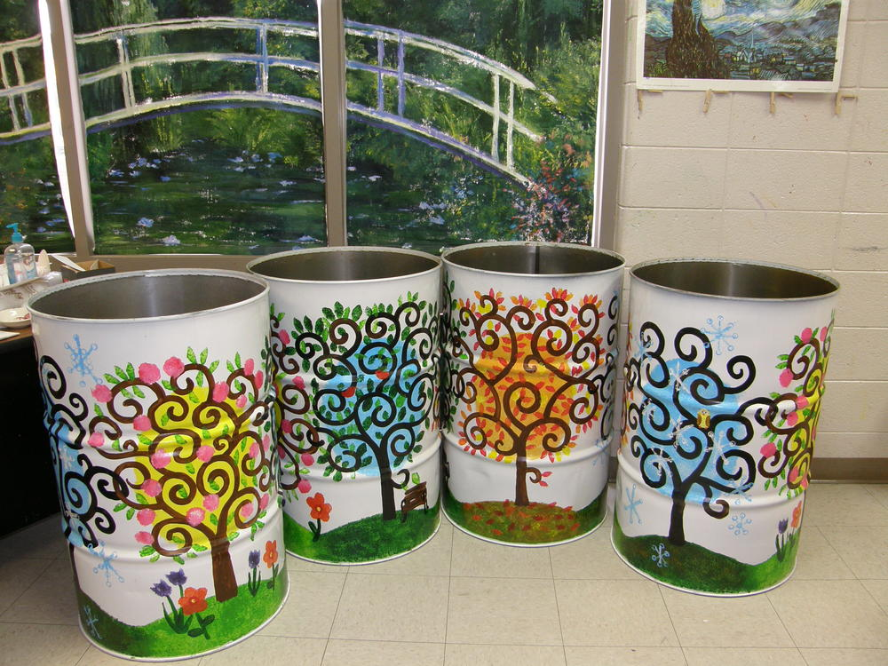 decorated trash barrels by BES students.JPG